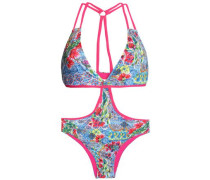 Cutout printed swimsuit