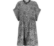 Delilah Printed Crepe De Chine Dress Black