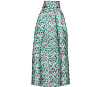 Flared Floral-print Duchesse Satin-twill Maxi Skirt Light Green