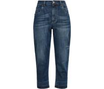 Distressed High-rise Boyfriend Jeans Mid Denim