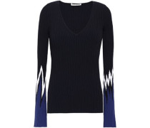 Color-block Ribbed-knit Sweater Navy