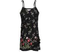 Cutout Embroidered Cotton-blend Mini Dress Black