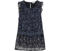 Celadine B Ruffle-trimmed Printed Silk-georgette Blouse Midnight Blue