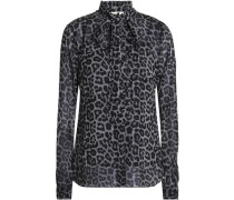Pussy-bow Leopard-print Crepe Blouse Black