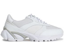Leather And Mesh Sneakers White