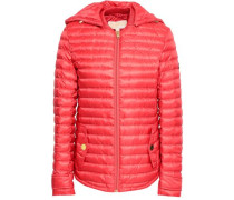 Quilted Shell Hooded Jacket Papaya