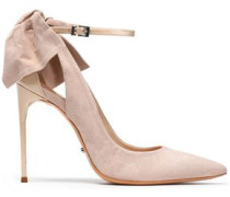 Bow-embellished suede and patent-leather pumps