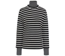 Woman Layered Striped Cotton-jersey Turtleneck Top Black