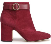 Alana Buckled Suede Ankle Boots Plum