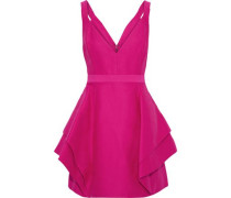 Layered Cotton And Silk-blend Mini Dress Magenta