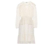 Lace-trimmed Metallic Fil Coupé Chiffon Mini Dress White Size 12