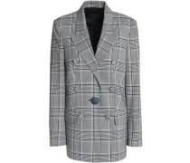 Double-breasted Prince of Wales checked woven blazer