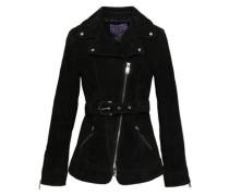 Suede Biker Jacket Black