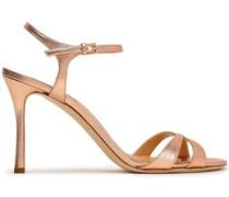 Metallic Leather Sandals Rose Gold