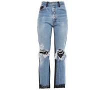 Leather-paneled Distressed High-rise Straight-leg Jeans Mid Denim  5