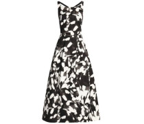 Flared printed cotton-blend faille gown