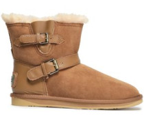 Buckled Leather-trimmed Shearling Ankle Boots Light Brown