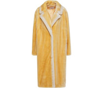 Woman Marianne Two-tone Faux Fur Coat Pastel Yellow
