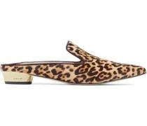 Augustine leopard-print calf hair slippers