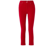 Cropped High-rise Stretch-velvet Skinny Pants Red  4