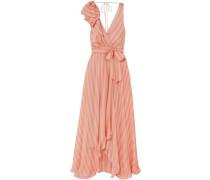 Linden Asymmetric Wrap-effect Striped Silk-chiffon Maxi Dress Peach
