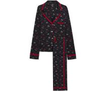 Printed Pima Cotton And Modal-blend Pajamas Black