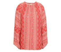 Giovane Sequined Printed Crepe Blouse Coral