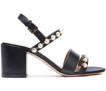 Woman Faux Leather-embellished Leather Sandals Black