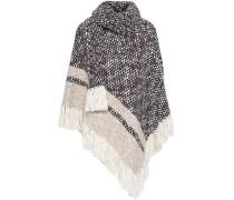 Fringe-trimmed wool-blend turtleneck poncho
