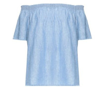 Amesti off-the-shoulder linen and cotton-blend chambray top