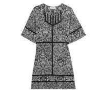 Tawney Crochet-trimmed Printed Georgette Mini Dress Black