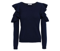 Cold-shoulder Ruffled Knitted Top Navy