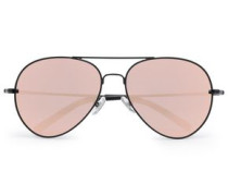 Aviator-style acetate and metal mirrored sunglasses