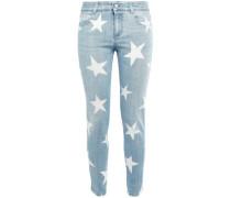 Woman Printed Low-rise Skinny Jeans Light Denim