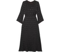 Polka-dot Satin-jacquard Midi Dress Black
