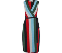 Metallic Intarsia Merino Wool-blend Wrap Dress Multicolor