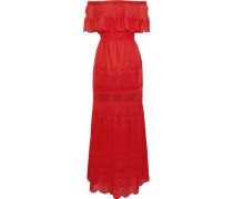 Off-the-shoulder crochet-trimmed embroidered cotton maxi dress