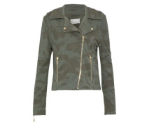 Gracia Printed Jersey Biker Jacket Army Green