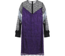 Layered Chantilly lace and satin dress
