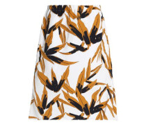 Printed cotton and linen-blend midi skirt