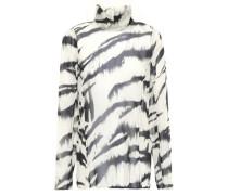 Zebra-print Silk-chiffon Turtleneck Blouse Off-white