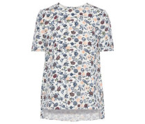 Floral-print Silk-crepe T-shirt Ivory Size 0