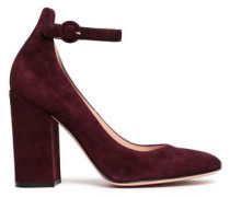 Greta Suede Mary Jane Pumps Grape