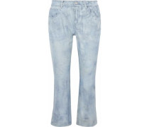 Cropped Leather Flared Pants Sky Blue
