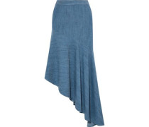Molina asymmetric chambray midi skirt