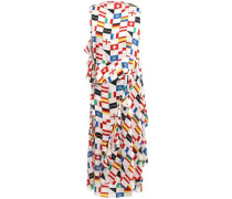 Woman Wrap-effect Printed Silk-jacquard Midi Dress Ivory