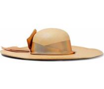 Grosgrain-trimmed Woven Straw Hat Beige