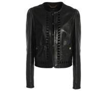 Lattice-trimmed leather jacket