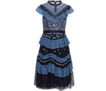 Ruffled Lace-trimmed Embroidered Tulle Dress Navy