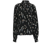 Printed Silk Crepe De Chine Shirt Black